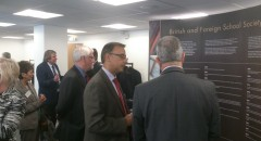 BFSS Trustees and Members looking at the display unit with the BFSS timeline
