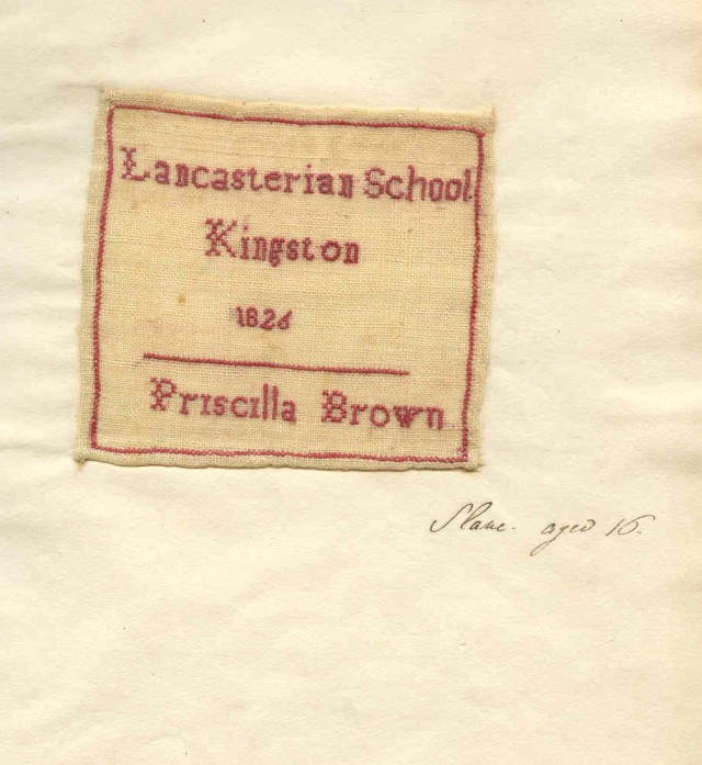 Embroidered school book by 16-year old Jamaican slave