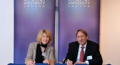Professor Julia Buckingham, Vice-Chancellor of Brunel University, and Mr Roger Howarth, Trustee and former Chair of BFSS, sign the Deed of Gift