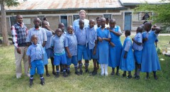 Roger Howarth, BFSS Trustee, with the Headteacher and students at Thinu school