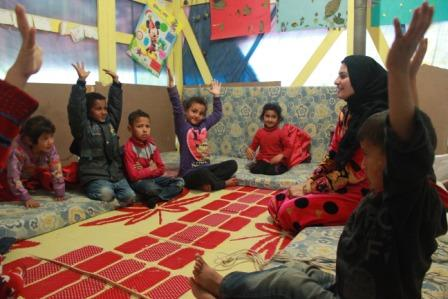 Refugee camp class in the Bekaa Valley