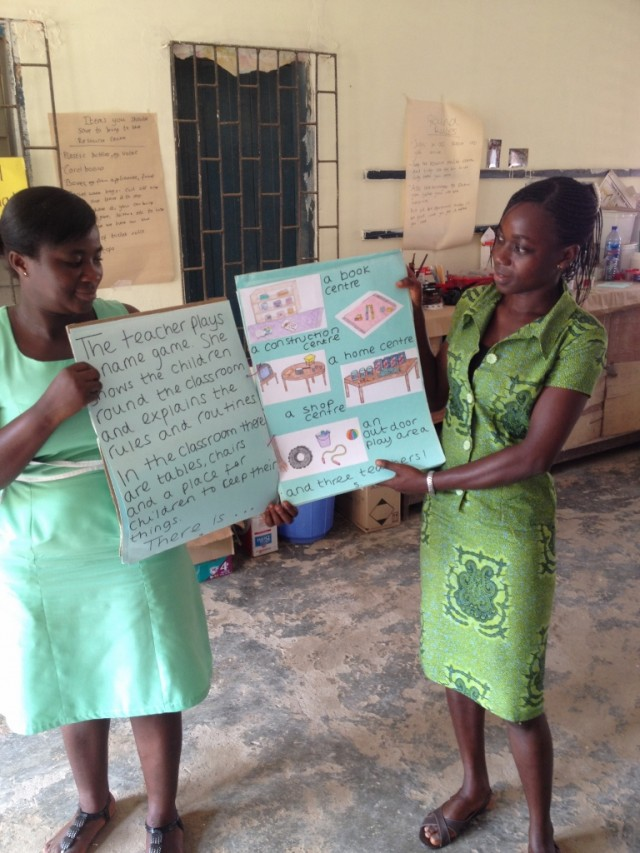 Teachers sharing their self-made book Starting School in Southern Ghana (768x1024)